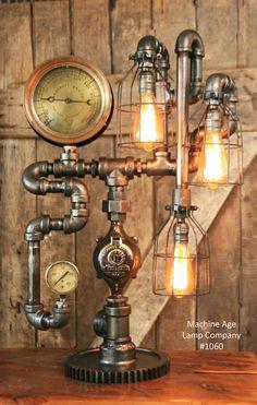 Steampunk Industrial Steam Gauge Lamp, New York Ashcroft #1060