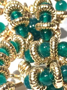 SPECTACULAR SIGNED 14K GOLD EMERALD COLORED BEAD ARTISAN EARRINGS 12 GRAMS  #CLIP