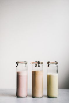 A Guide to Homemade Nut & Seed Milks (strawberry macadamia, coffee cashew, pistachio date)