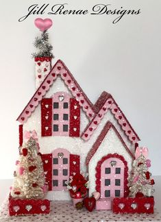 Excited to share this item from my shop: Valentine Putz House - Red and White Tudor Valentine Wreath, Valentine Day Crafts, Vintage Valentines, Valentine Decorations, Be My Valentine, Holiday Crafts, Valentine Ideas, Putz Houses, Mini Houses