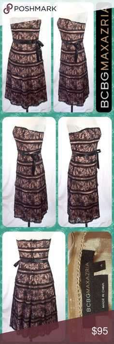 "Strapless Peach Lace Overlay Formal Midi Dress S/4 💐Bundle to Save 15% Off 2+ Items!💐. Stunning strapless dress from BCBGMaxAzria! Peach in color with a black floral lace overlay throughout. The ""tattered"" lace edges give this dress a tiered look. Black satin ribbon belt that ties into a cute bow. Double lined with a layer of crinoline in between. Gorgeous dress! Size Small or 4. Measures 16.5"" across the chest and 35"" in length from bust to hem. Does not stretch. BCBGMaxAzria Dresses…"