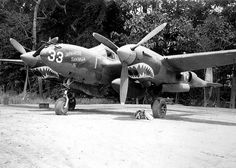 P38F Lightning (Japanese Sandman II). Lockheed P-38F Lightning of the 39-th United States AIR FORCE fighter squadrons named Japanese Sandman II, seen here in New Guinea 1943 . The plane was piloted by Gen Richard e. Smith who had seven victories.
