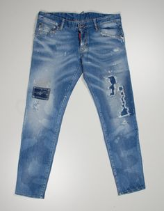Dsquared2 Original Dsquared Blue Disstressed Tappered Fit Men Jeans in size 50 Size US 34 / EU 50