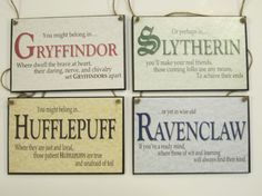 Full Set of All Four (4) Hogwart's House Signs - Harry Potter Inspired - Great Gift for Fans - Gryffindor HufflePuff Ravenclaw Slytherin on Etsy, $19.95