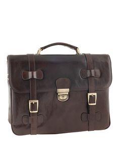 Dark brown leather buckle briefcase Sale - Pellevera