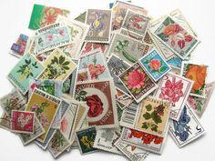 Blumen Briefmarken der Welt  Modern  Vintage zufällige