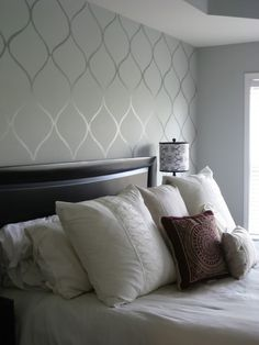 Master Bedroom Accent Wall: Stencil Over A Flat Paint With Same Color  Glossy Paint
