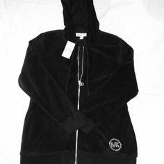 NWT Michael Kors Hooded Sweatshirt Size 1x Brand New with tags attached Michael Kors cotton/ polyester blend black hoodie with silver embellishments.  Signature MK charm on zipper, silver studded MK on lower left side. Size 1x. Michael Kors Jackets & Coats