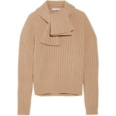 J.W.Anderson Ribbed-knit sweater ($540) ❤ liked on Polyvore featuring tops, sweaters, j.w. anderson, neutrals, loose fitting tops, tie top, loose sweater and ribbed knit sweater