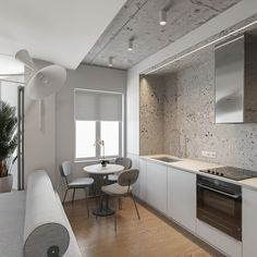 Studio Apartments, Small Kitchen Diner, Küchen Design, House Design, Minimalist Studio Apartment, Black Feature Wall, Grande Armoire, White Room Decor, Mismatched Dining Chairs