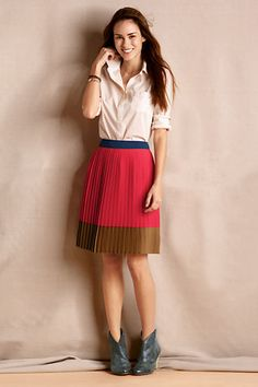 Women's Gatsby Colorblock Skirt from Lands' End Canvas
