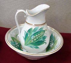 Lily of the Valley Pitcher & Bowl Set, no chips or  cracks.  Bowl is 13 dia., pitcher 15 tall.