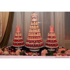 Pink Ombre Wedding Cupcake Stands - Love this idea only I would make the pinks brighter and have it start a lot lighter on top.