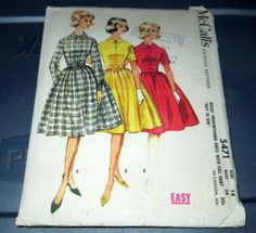 SALE Vtg. 1960 McCall's Print Pattern Mad Men no. 5471 size 14 bust 34 inches Office Dress for tall medium short builds