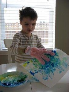 big glove color mixing paint