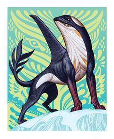 """mademythos: """"Ahklut In Inuit mythology, the Ahklut is a hungry orca that shape-shifts into the form of a wolf in order to hunt on land. Wolf tracks emanating from and returning to sea ice is thought to be evidence that this formidable killer whale..."""