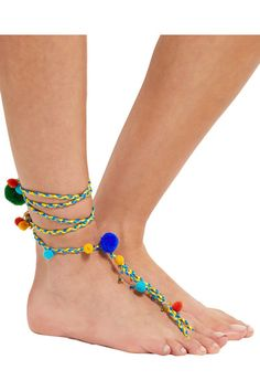 Rosantica - Michelita Gold-tone, Beaded And Pompom Anklet - Green - one size