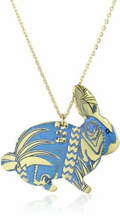 "Mercedes Salazar ""Enchanted Forest"" Ungraved and Resined Hand Made Blue Bunny Necklace Mercedes Salazar. $73.00. Hand made. Ungraved, painted and resined brass. Made in Colombia"
