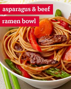 Asparagus and Beef Ramen Bowl – Make the night one to remember with this Asian-infused dinner dish. For a colorful beef ramen bowl with a mix of sirloin steak, veggies, and noodles, check out this 25 minute creation.