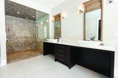 Double vanity completed in Caesarstone Misty Carrara #quartz. #BathroomDesign #InteriorDesign #Toronto