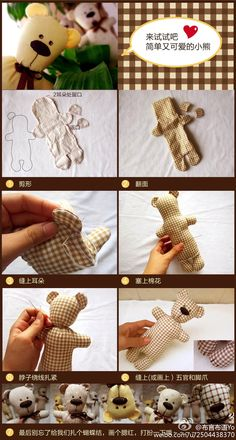 Simple and cute teddy bear to ordinary gingham cotton on OK