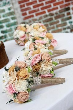 Love the style of these bouquets: Romantic Sola Wedding Bouquet -Small Alternative Natural Sola Flower Bridal Bridesmaid Bouquet, Keepsake Wood Bouquet, Shabby Chic Rustic Wedding