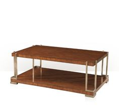 A Hyedua veneered cocktail table, the rectangular top on angular brass supports, on a plinth base with brass feet.