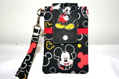 Mickey Mouse Cell Phone Bag Wristlet or Cross Body Detachable Strap iPhone 6, 6 Plus Bag, MP3 Player Bag or iPod Bag by MeeMawsBags on Etsy