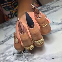Black Acrylic Nails, Almond Acrylic Nails, Best Acrylic Nails, Black Manicure, Pointy Nails, Matte Nails, Gel Nails, Shellac, Different Nail Designs