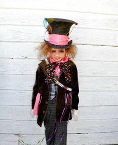 Mad  hatter costume  Alice in   wonderland inspired boys  kids children halloween costumes school event..