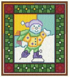 Stain Glass Snowman - Christmas cross stitch pattern designed by Marv Schier. Category: Borders.