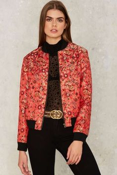 Nasty Gal Collection Cherry Picked Floral Bomber Jacket