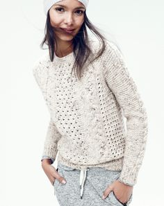 J.Crew women's pointelle cable sweater. To preorder call 800 261 7422 or email verypersonalstylist@jcrew.com.