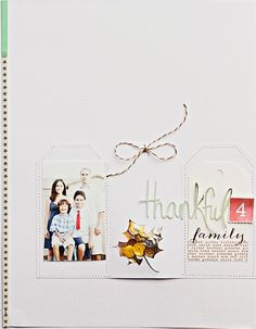 Thankful 4 family scrapbook layout page