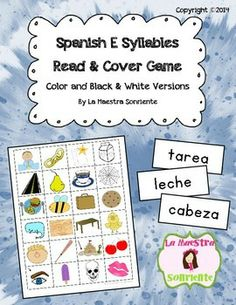 Spanish Read and Cover Game with A and E Syllables: Students read words with A and E syllables (ma, me, pa, pe, etc.) and put a marker on the picture that represents the word. $