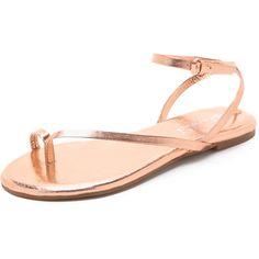Splendid Marbeya Thong Sandals (290 RON) ❤ liked on Polyvore featuring shoes, sandals, rose gold, strap sandals, ankle strap shoes, ankle tie sandals, ankle wrap sandals and metallic sandals