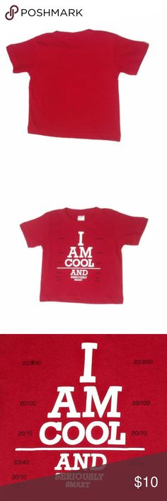 """Gymboree Boys 12-18 MS I Am Cool & Seriously Smart Material: 100% Cotton  India: Country/Region of Manufacture  Height: 29-31 in / 73.5-78.5 cm  Weight: 22-27 lb / 10-12 kg  Item #140142406  RN #70530  Release / Year: GYOT Transition / 2015  CA #31802  The front of this shirt features """"I Am Cool And Seriously Smart"""" in a raised white screen print. There are various numbers screen printed in blue on the sides of the wording.  1874 (1) Gymboree Shirts & Tops Tees - Short Sleeve"""