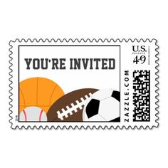 Shop Modern All Star Party Postage created by cranberrydesign. Basketball Birthday, Sports Birthday, Soccer Inspiration, Star Party, Youre Invited, Postage Stamps, All Star, Best Gifts, Invitations