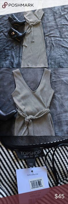 """NWT: Topshop Belted Midi, sz 2 (fits 0-2) NWT: Topshop Striped Belted Midi Dress in new condition from a smoke-free, pet-free home. This knit is thick and is perfect for fall. Unstretched Measurements: Bust: 14.5"""", Waist: 13"""". Size 2 (fits 0-2) Topshop Dresses Midi"""