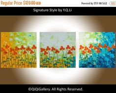 Art panting Acrylic flower painting wall art wall by QiQiGallery