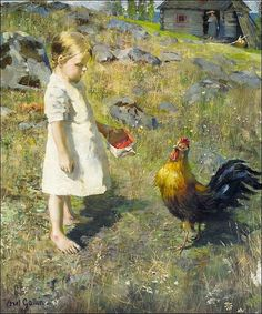 by Akseli Gallen-Kallela (1865-1931) Ally and Cadillac - The Girl and the Rooster (1886)