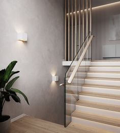 Home Stairs Design, Interior Stairs, Home Interior Design, House Design, House Staircase, Concrete Stairs, Stair Decor, Modern Stairs, Lobby Design