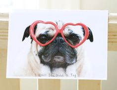 Pug Sees Love Card by AllYouNeedIsPugShop on Etsy, $4.00 #pug #pugs #allyouneedispug #dogs #pets #valentine #greetingcard #adorkable