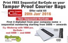 Special Offer!! Print free sequential #Barcode on Tamper Proof Courier Bags.