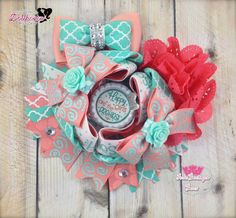 """Happy Girls are the Prettiest"" OTT OOAK Hair Bow Just Sayin' An Auction Style Event Opens 3/3/15 at 5 PM CST Closes at 3/5/15 at 9 PM CST Purchase Here: www.facebook.com/dollhousedesigngroup"