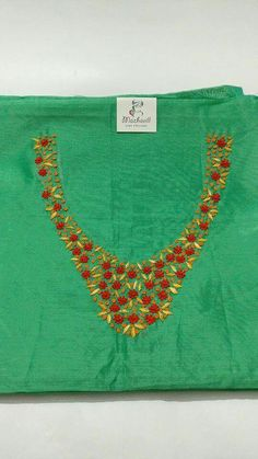 Embroidery Dress, Embroidery Patterns, Hand Embroidery, Churidar, Kurti, Embroidered Clothes, Gowns Online, Neck Pattern, Punjabi Suits