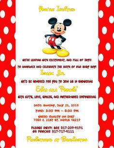 Mickey mouse baby shower invitation from katedidesign on etsy mickey mouse baby shower invitations filmwisefo