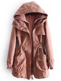 Dark Pink Hooded Long Sleeve Lace Drawstring Coat
