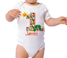 Adorable birthday bodysuit for your special little guy on his special day! Customize this bodysuit with your little ones name and age! This is a