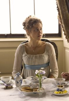 """Charity Wakefield as Marianne Dashwood in Sense and Sensibility (TV Mini-Series, 2008). - """"Girls in white dresses with blue satin sashes."""""""